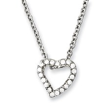 Chisel Stainless Steel CZ Heart Pendant 18 inch Necklace