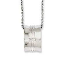 Chisel Stainless Steel Polished Geometrical Pendant 18 inch Necklace