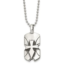 Chisel Stainless Steel Dagger Cross Dog Tag 20 inch Necklace