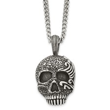 Chisel Stainless Steel Antiqued and Textured Skull 24 inch Necklace