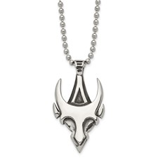 Chisel Stainless Steel Antiqued and Polished Gothic 22 inch Necklace