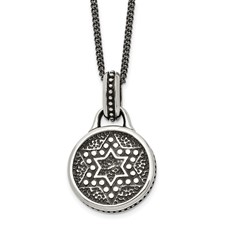 Chisel Stainless Steel Antiqued and Polished Star of David 22 inch Necklace