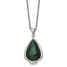 Chisel Stainless Steel Synthetic Green Cats Eye Teardrop 20 inch Necklace