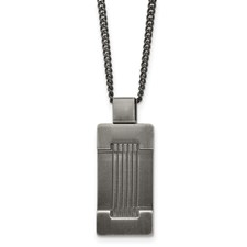 Chisel Stainless Steel Antiqued Dog Tag 22 inch Necklace
