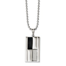 Chisel Stainless Steel Black and Grey Carbon Fiber 24 inch Necklace