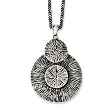 Chisel Stainless Steel Antiqued Circles 20 inch Necklace