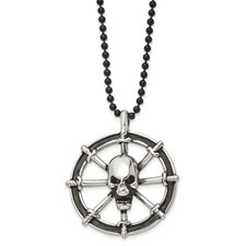 Chisel Stainless Steel Antiqued Pirates Wheel with Skull 30 inch Necklace