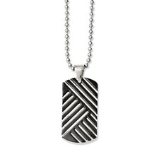 Chisel Stainless Steel Black Enamel Dog Tag 24 inch Necklace