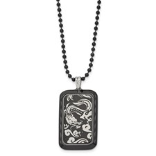 Chisel Stainless Steel Black IP-plated with Dragon Dog Tag 22 inch Necklace