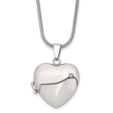 Chisel Stainless Steel Polished Heart with CZ Locket 20 inch Necklace