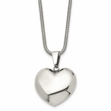Chisel Stainless Steel Polished Puff Heart 20 inch Necklace