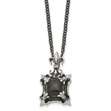 Chisel Stainless Steel Antiqued and Black Agate and Fleur de lis 20 inch Necklace
