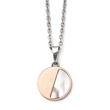 Chisel Stainless Steel Rose IP-plated Mother of Pearl Pendant