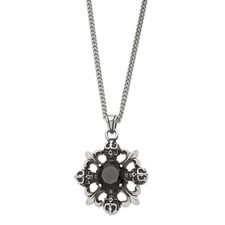 Chisel Stainless Steel Skulls and Fleur de lis with Black CZ 22 inch Necklace