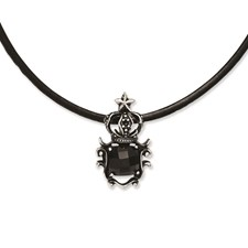 Chisel Stainless Steel Antiqued Crown with Black Glass 20 inch Necklace