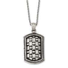 Chisel Stainless Steel Antiqued Dog Tag 24 inch Necklace