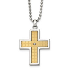 Chisel Stainless Steel 14k Gold and Diamond Accent Cross Necklace