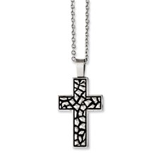 Chisel Stainless Steel Antiqued Pebble Cross 24 inch Necklace