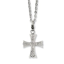 Chisel Stainless Steel CZ Cross 18 inch Necklace