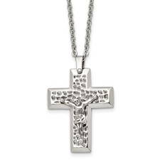 Chisel Stainless Steel Polished and Textured Crucifix 20 inch Necklace