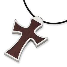 Chisel Stainless Steel Leather Cord Wood Cross Necklace