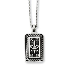 Chisel Stainless Steel Antiqued Dog Tag with Fleur de lis 22 inch Necklace