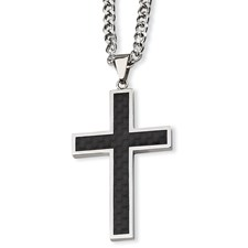 Chisel Stainless Steel Carbon Fiber Cross Necklace