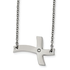 Stainless Steel Fancy Sideways Cross with CZ Necklace