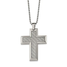 Chisel Stainless Steel Grey Carbon Fiber Cross Necklace