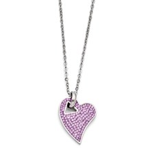 Chisel Stainless Steel Polished Light Purple Crystal Heart Pendant Necklace