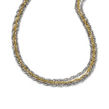 Chisel Stainless Steel Polished and Yellow IP-plated Layered Necklace