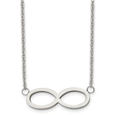 Chisel Stainless Steel Brushed Polished Infinity Symbol Necklace
