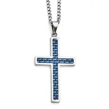Chisel Stainless Steel Blue Carbon Fiber Inlay Polished Large Cross Necklace