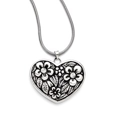 Chisel Stainless Steel CZ Antiqued Heart with 2 inch extension Necklace