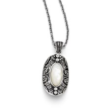 Chisel Stainless Steel Mother of Pearl and Crystal Antiqued Necklace