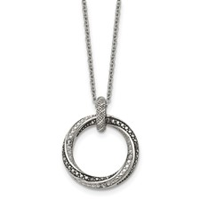 Chisel Stainless Steel Black Clear CZ Antiqued Circle Necklace