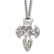 Chisel Stainless Steel Cross with Skull Necklace