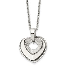 Chisel Stainless Steel Heart Three Piece Polished Necklace