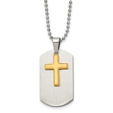 Chisel Stainless Steel Dog Tag Yellow IP-plated Brushed Cross Necklace