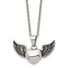 Chisel Stainless Steel Antiqued and Polished Heart with Wings Necklace