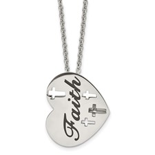 Chisel Stainless Steel Enameled Polished Heart Necklace