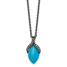 Chisel Stainless Steel Simulated Turquoise Crystals Antiqued Necklace