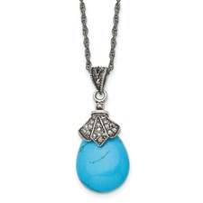 Chisel Stainless Steel Simulated Turquoise Crystal Antiqued Teardrop Necklace