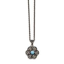 Chisel Stainless Steel Simulated Turquoise Crystal Antiqued Flower Necklace