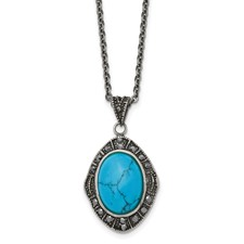 Chisel Stainless Steel Simulated Turquoise Crystal Antiqued Oval Necklace