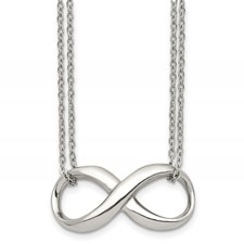 Chisel Stainless Steel Polished Two Strand Infinity Symbol Necklace