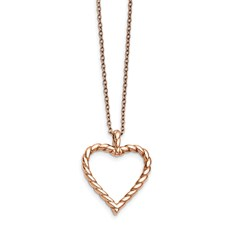 Chisel Stainless Steel Polished Pink IP-plated Twisted Heart Necklace