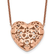 Chisel Stainless Steel Polished Pink IP-plated Heart Necklace