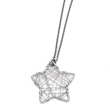 Chisel Stainless Steel Wired Star Polished Necklace