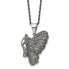 Chisel Stainless Steel Butterfly Necklace with Crystals